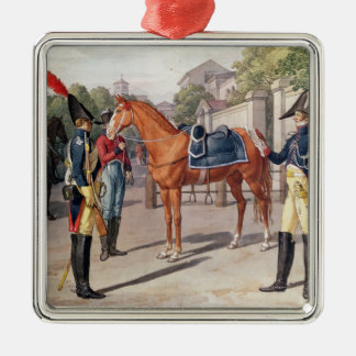 Officer and Guard of the Royal Guard in 1826 Silver-Colored Square Decoration