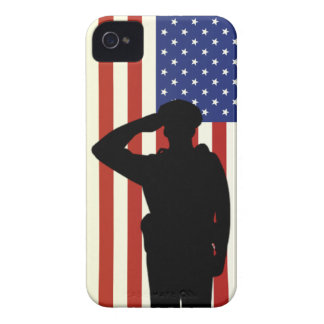 Officer Salutes American Flag iPhone 4 Case-Mate Cases