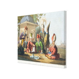 Officers of the Grand Seraglio Regaling, engraved Canvas Print