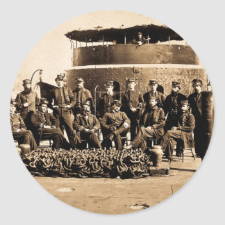 Officers on Deck of Ironclad Monitor Civil War Classic Round Sticker