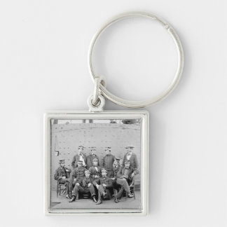 Officers on USS Monitor, 1862 Silver-Colored Square Key Ring