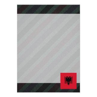 Official Albania Flag on stripes 13 Cm X 18 Cm Invitation Card
