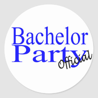 Official Bachelor Party (Blu) Round Sticker