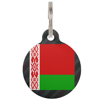 Official Belarus Flag on stripes Pet Name Tags