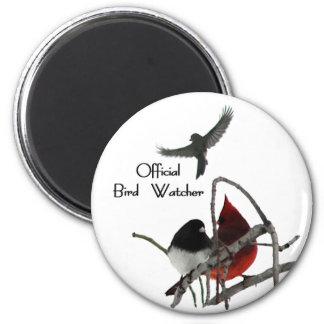 Official Bird Watcher 6 Cm Round Magnet