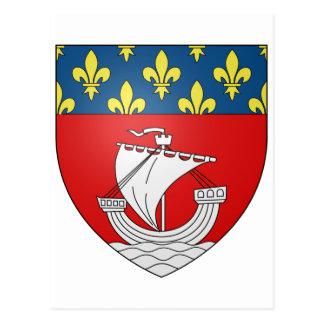 Official Blason Paris Coat Heraldry Symbol France Postcard