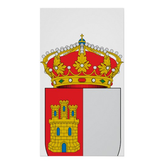 Official Castile-La Mancha Spain Coat Arms Symbol Poster