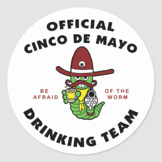 Official Cinco de Mayo Drinking Team Classic Round Sticker