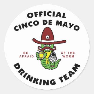 Official Cinco de Mayo Drinking Team Round Sticker