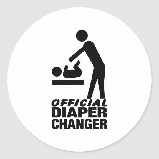 Official Diaper Changer Round Sticker