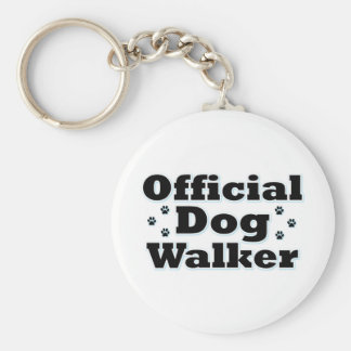 Official Dog Walker Basic Round Button Key Ring