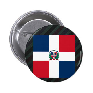 Official Dominican Republic Flag on stripes 6 Cm Round Badge