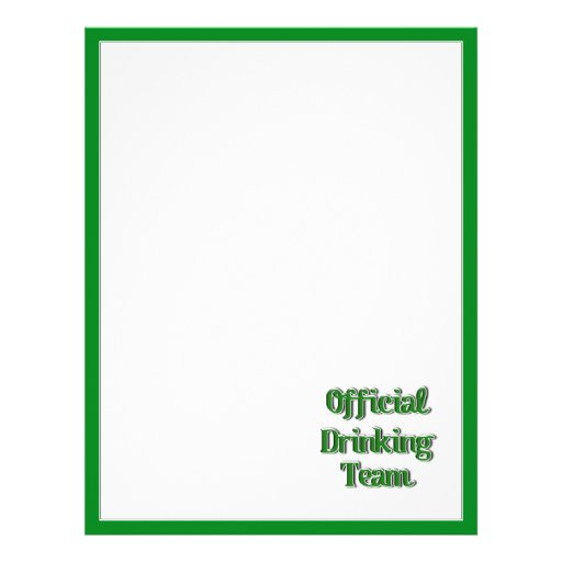 Official Drinking Team Text Image 21.5 Cm X 28 Cm Flyer