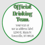Official Drinking Team Text Image Round Sticker
