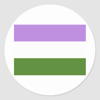 OFFICIAL GENDERQUEER PRIDE FLAG CLASSIC ROUND STICKER