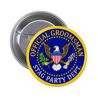 Official Groomsman 6 Cm Round Badge