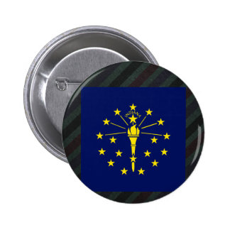 Official Indiana Flag on stripes 6 Cm Round Badge
