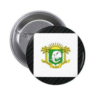 Official Ivory Coast Flag on stripes 6 Cm Round Badge