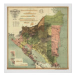 Official Map of Nicaragua 1898 Poster