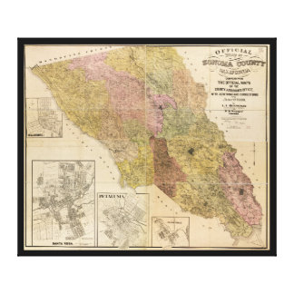 Official map of Sonoma County, California (1900) Gallery Wrapped Canvas
