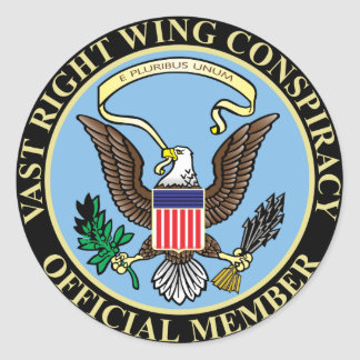 Official Member of The Vast Right Wing Conspiracy Classic Round Sticker
