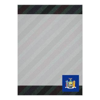 Official New York Flag on stripes 13 Cm X 18 Cm Invitation Card