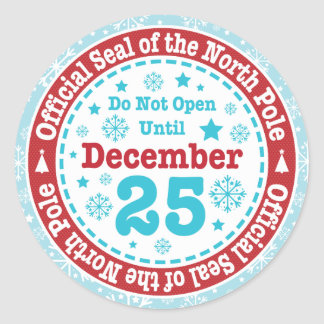 Official North Pole Seal Christmas Round Sticker