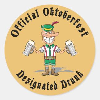 Official Oktoberfest Designated Drunk Round Sticker