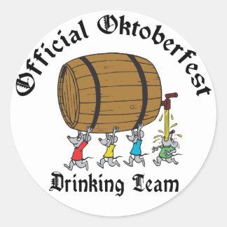 Official Oktoberfest Drinking Team Round Sticker
