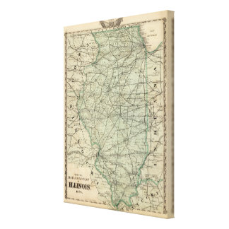 Official railroad map of Illinois Canvas Print