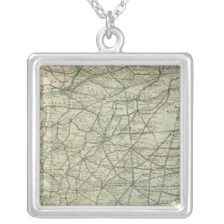 Official railroad map of Illinois Silver Plated Necklace