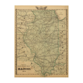Official railroad map of Illinois Wood Print
