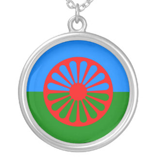 Official Romany gypsy flag Round Pendant Necklace