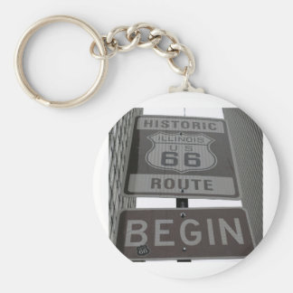 Official Route 66 begin sign Basic Round Button Key Ring