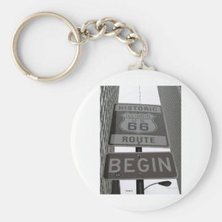 Official Route 66 begin sign Key Chain