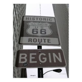 Official Route 66 begin sign Postcard