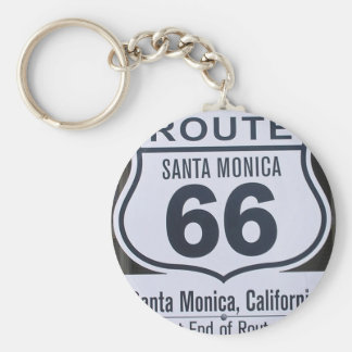 Official Route 66 end sign santa monica Basic Round Button Key Ring