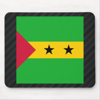 Official Sao Tome and Principe Flag on stripes Mouse Pad