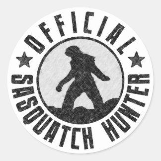 Official Sasquatch Hunter - Bigfoot in B/W Grunge Round Sticker