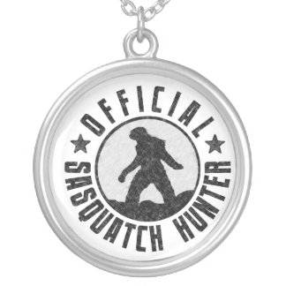 Official Sasquatch Hunter - Bigfoot in B/W Grunge Silver Plated Necklace