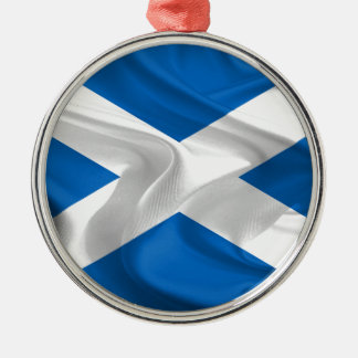 Official Scottish flag for the independence Silver-Colored Round Decoration