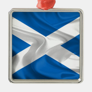 Official Scottish flag for the independence Silver-Colored Square Decoration