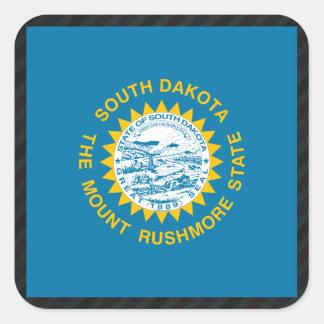 Official South Dakota Flag on stripes Square Sticker