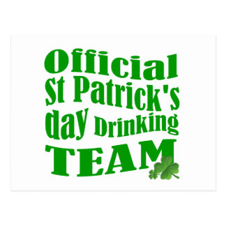 Official St Patrick's day drinking team Postcard