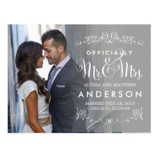 Official Titles Wedding Announcements - Gray Postcard