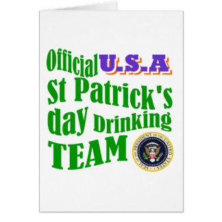 Official U.S.A St Patrick's drinking team Greeting Card