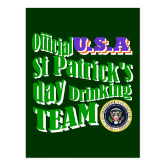 Official U.S.A St Patrick's drinking team Postcard