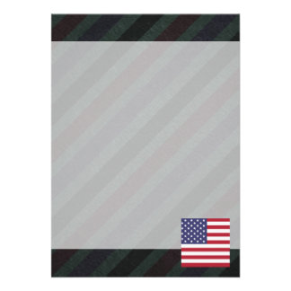 Official United States Flag on stripes 13 Cm X 18 Cm Invitation Card