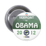 Official Vermont for Obama in 2012 political pinba Pinback Button