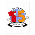 Officially 15 Birthday Banner Postcard